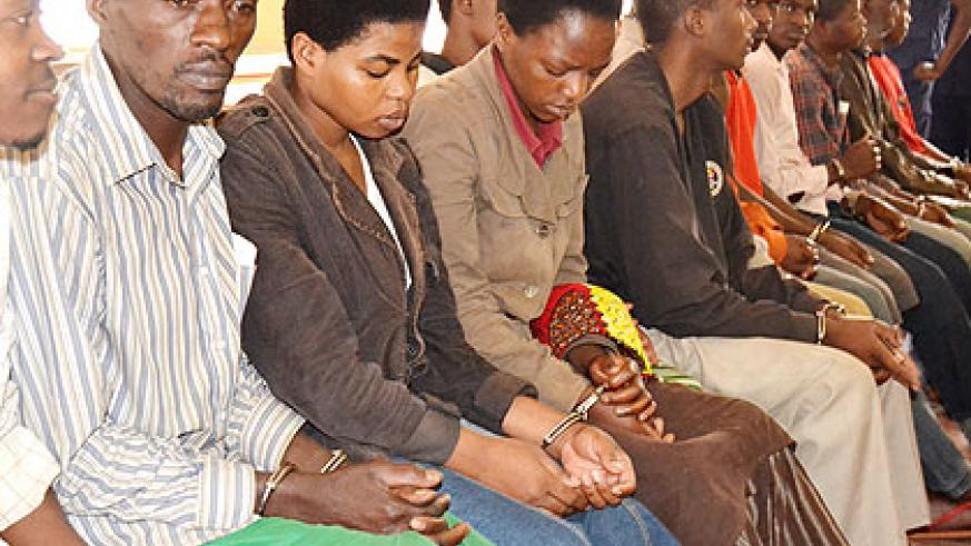 Some of the suspects before the court in Musanze District yesterday. (Jean d'Amour Mbonyinshuti)
