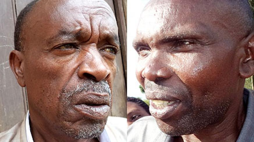 Nzabaterura (R) served his sentence and asked for forgiveness from relatives of his victims. Gahurura (L) lost scores of relatives in the Genocide. (Jean-Pierre Bucyensenge)