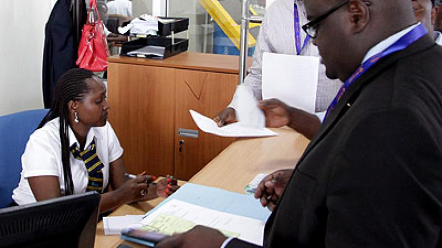 A customer care officer attends to clients at RDB last month. (File)