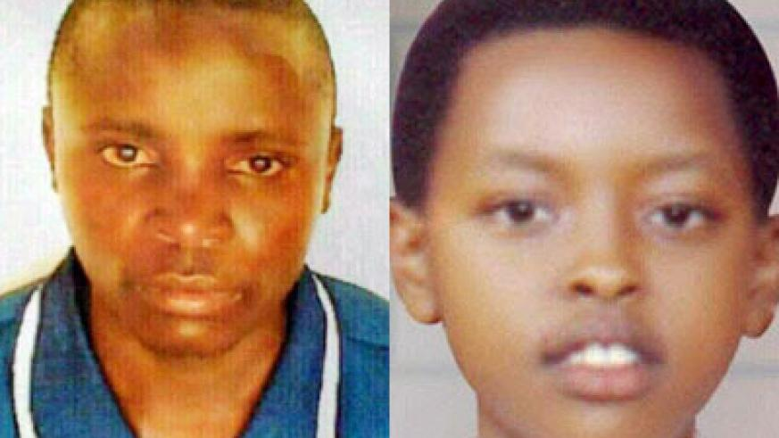 The killer Sylvestre Hora (L) has been apprehended by Police for the brutal death of the late Shalom Isimbi Uwase. (File)