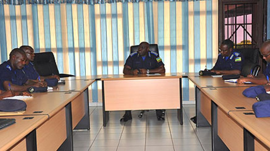 IGP Gasana briefs the officers at RNP headquarters in Kacyiru yesterday. (John Mbanda)