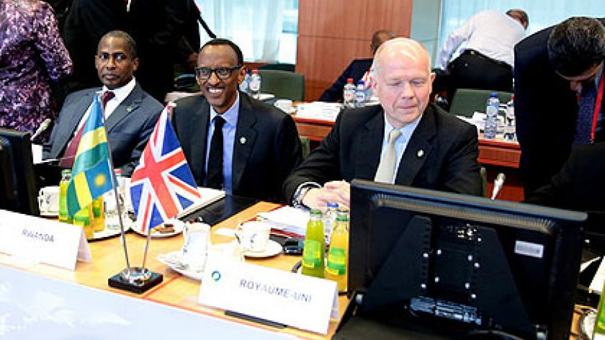 President Paul Kagame and UK Foreign Secretary William Hague during the opening session of the 4th EU-Africa Summit in Brussels yesterday. (Village Urugwiro)