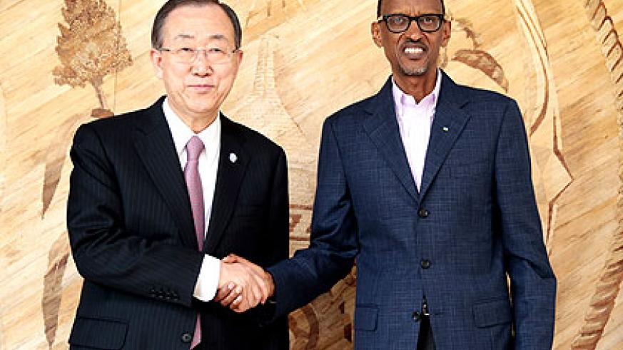 President Kagame and Ban after their meeting in Kigali yesterday. (Village Urugwiro)