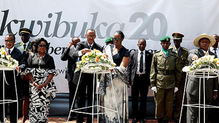 <p>President Kagame and First Lady Jeannette along with the President of the Republic of Congo, Denis Sassou Nguesso and his wife (L), and President Museveni of Uganda lay wreaths ....