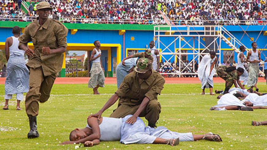 Artistes dramatise 'Shadows of Memory', a skit depicting the 1994 Genocide against the Tutsi. (Timothy Kisambira)