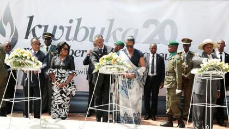 <p>President Paul Kagame and the First Lady, Jeannette Kagame, along with the different dignitaries lay wreaths in honour of the Genocide victims at the Kigali Memorial Centre yesterday.</p>