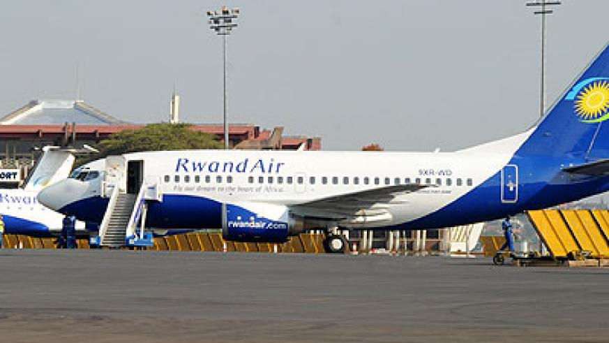 RwandAir aircraft at Kigali International Airport. The airport is ranked high for being secure and efficient. (File)
