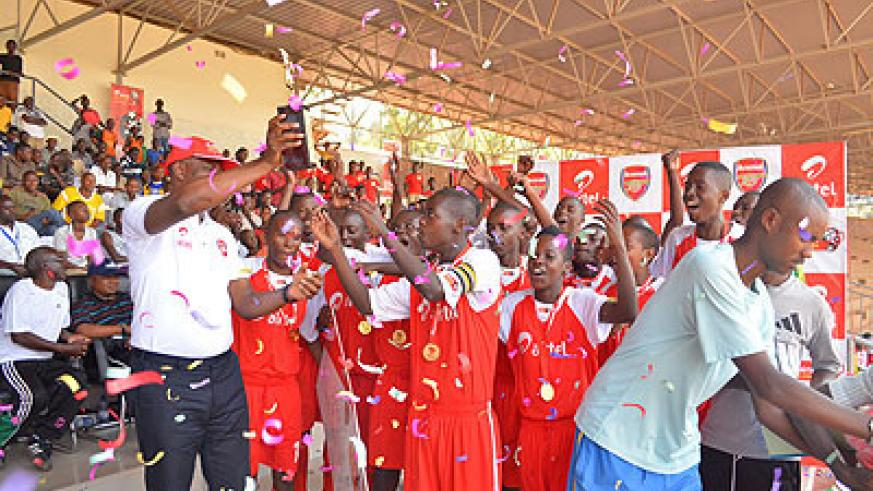 Rubavu-based Lionceaux Academy celebrate after winning the first edition of the Airtel Rising Stars last year. (File)