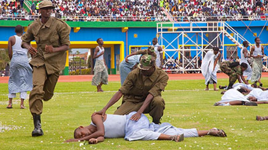 Young actors perform the 'Shadows of Memory' a skit depicting the 1994 Genocide against the Tutsi and how the RPF liberators stopped the killings. File