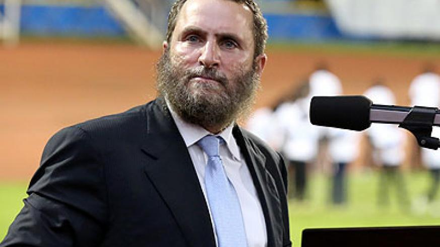 Rabbi Boteach speaks during the vigil at Amahoro Stadium last week. He believes only a homegrown approach can protect citizens. Timothy Kisambira.