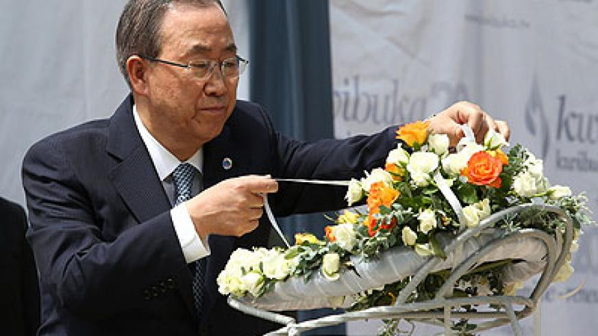 Ban Ki-moon lays a wreath of flowers at the Kigali Genocide memorial last week in honour of the 1994 Genocide victims. File.