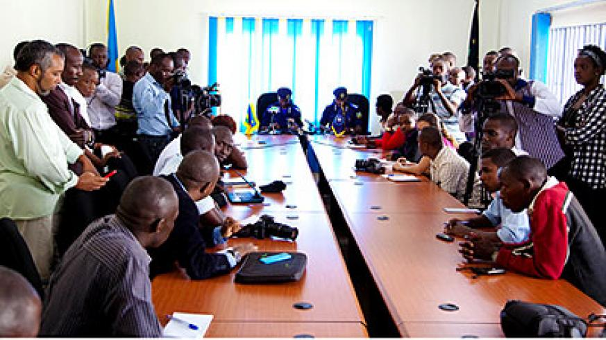 Journalists at a Police media briefing in Kigali yesterday. Timothy Kisambira.
