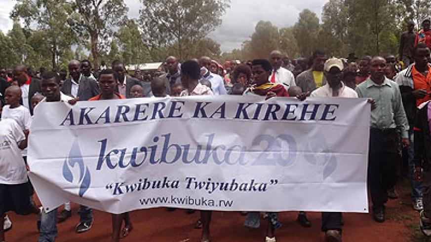 Kirehe residents march in honour of the Genocide victims on Tuesday. (Stephen Rwembeho)