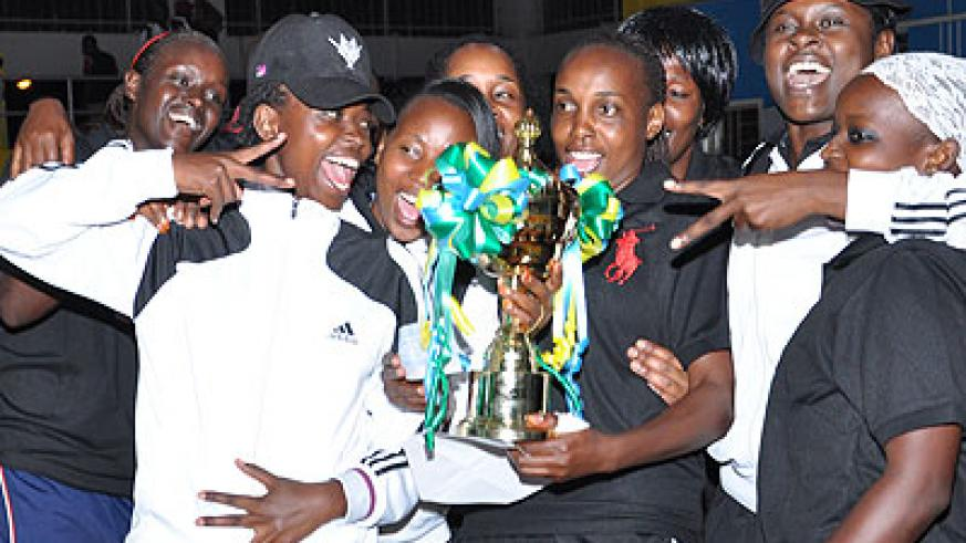 APR women volleyball club celebrate last year's league title after overpowering Rwanda Revenue Authority 3-2 at Amahoro indoor stadium. (File)