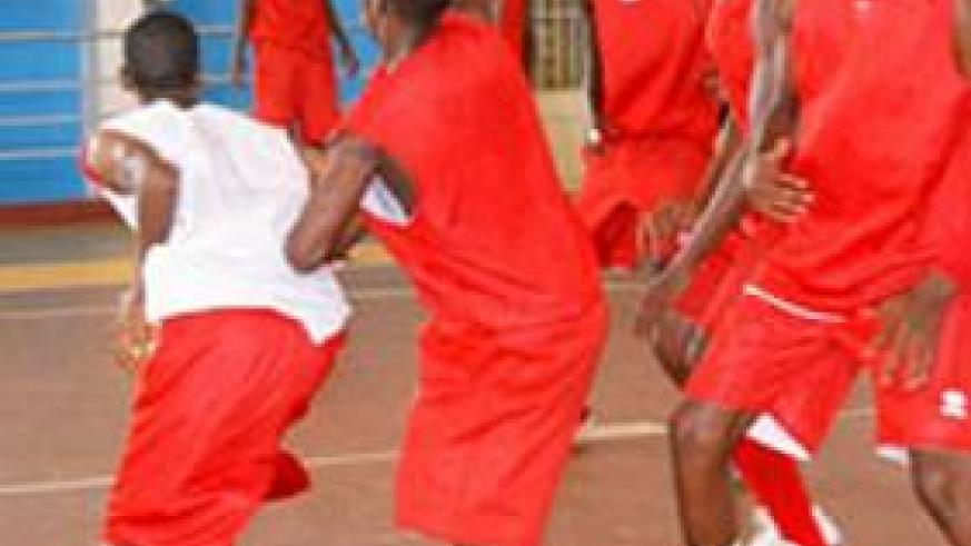 The boy's U18 basketball teams during a training session early this week at Amahoro indoor stadium. File.