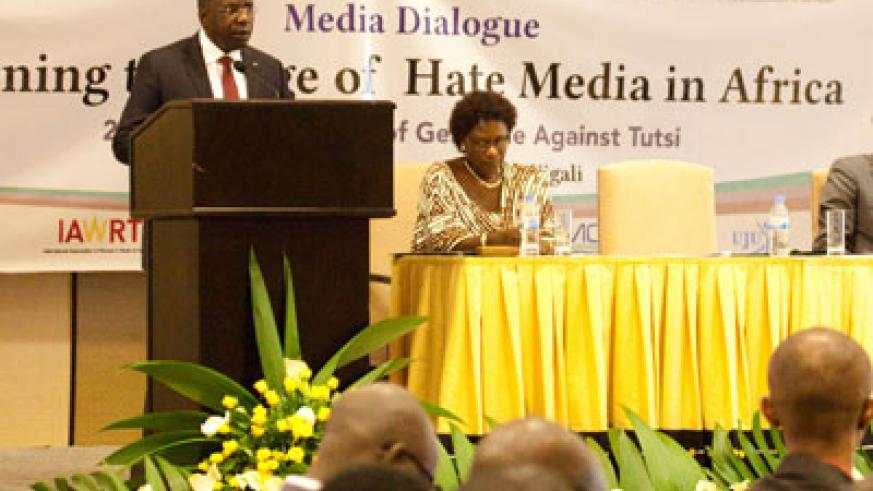 Prime Minister Habumuremyi opening a media forum on hate speech in Kigali last week. (File)