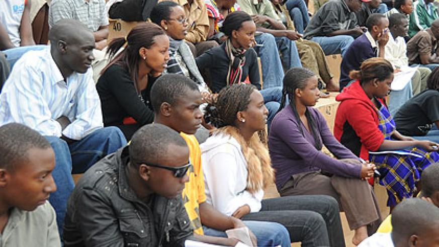 People at Amahoro National Stadium waiting to sit for driving permits exams. (File)
