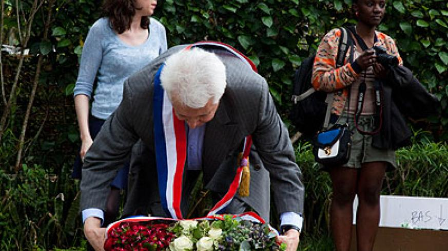 French Senator Alain Fauconnier laying a wreath at Gisozi Memorial Centre in respect of the victims of the 1994 Genocide last week. File.