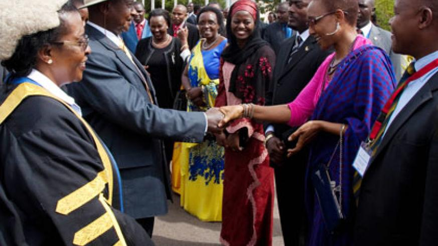 Ugandan President Yoweri Museveni is welcomed by EALA members at Parliament last year. File.