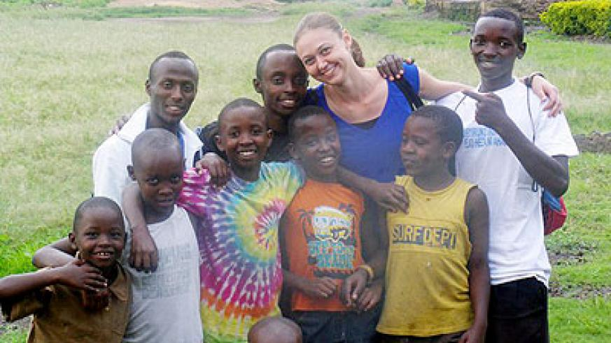Rebecca Davis  with some of her students. Courtesy photo