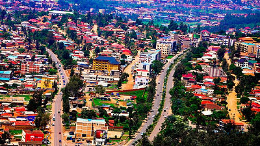 An aerial view of a section of Kigali. Under President Kagame's leadership Rwanda has recorded unprecedented growth and is on course to become a middle-income economy come 2020. File.
