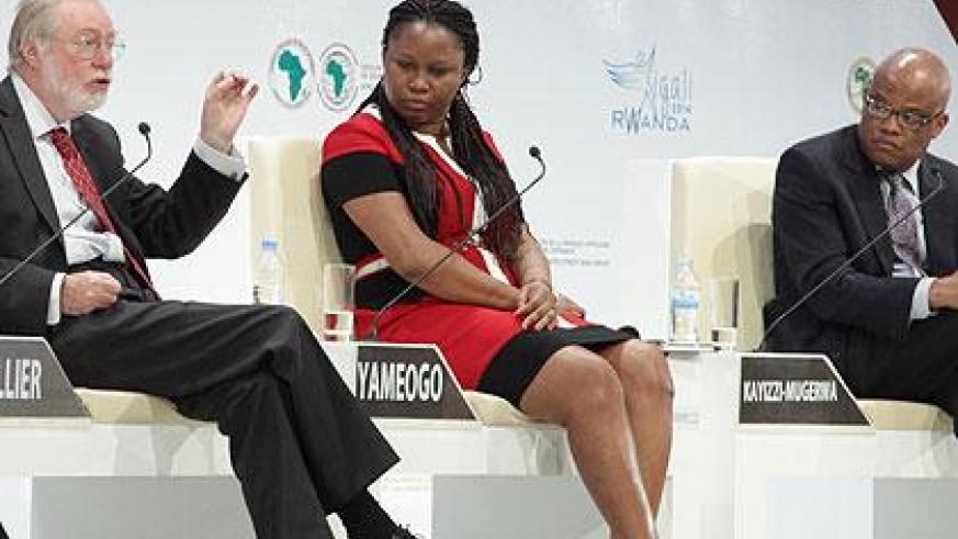 L-R: Sir Paul Collier, the Director of African Economies at Oxford University, Nadège Yaméogo and Steve Kayizzi-Mugerwa both researchers  at AfDB, during the discussion. (John Mbanda)