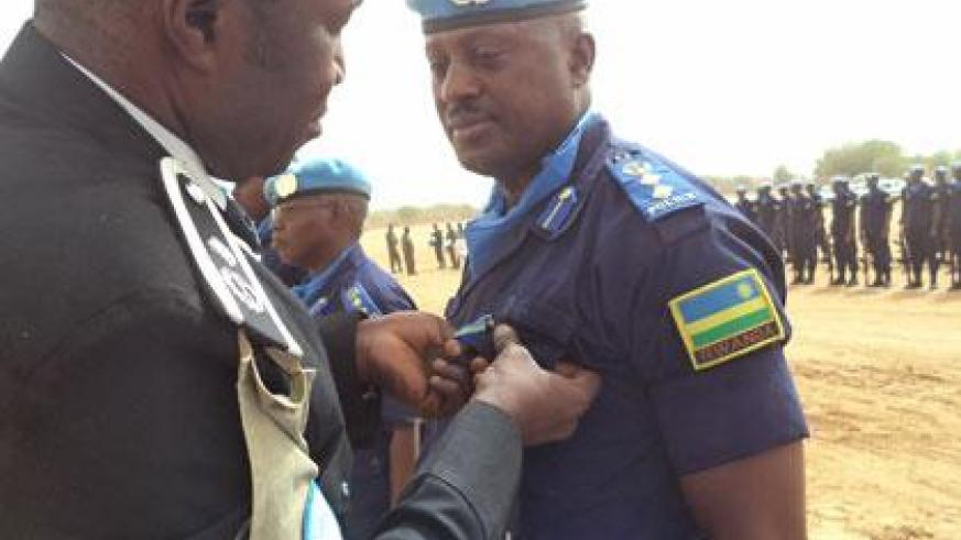 One of the police officers being decorated in Mali yesterday. (Courtesy)