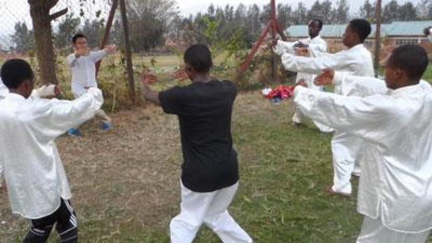 Students undergoing a Kung-fu lesson at the institute. (Moses Opobo)