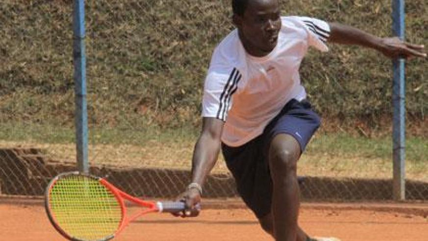 Mathieu Uwizeyimana seen in yesterday's semi final match against Olivier Nkunda. He takes on defending champion Dieudonne Habiyambere in today's final. (Richard Bishumba)