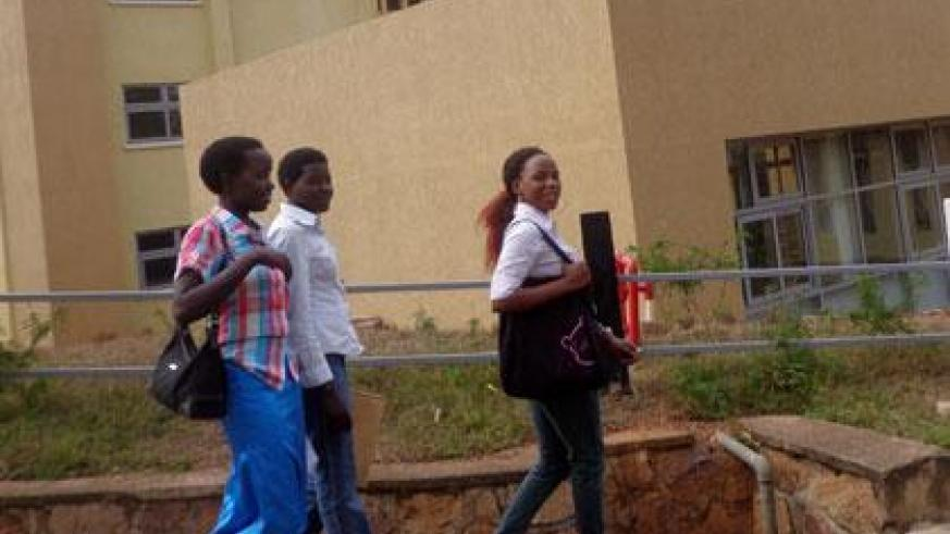 Some of the students who had gone to check on their admissions at the University of Rwanda on Friday. (Jean de la Croix Tabaro)