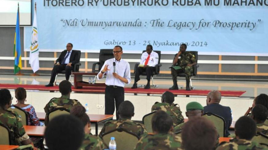 President Kagame addresses youth studying in the Diaspora at the closure of Itorero at Gabiro School of Infantry yesterday. The President challenged the youth to take responsibility and face the challenges of Rwanda and Africa in general. (Village Urugwiro)