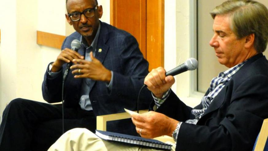 President Kagame speaking at the Aspen Institute in Colorado, US, ahead of the US-African Leaders' Summit. (Village Urugwiro)