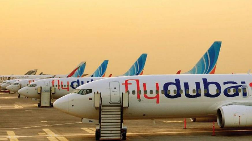 A fleet of flydubai planes. The airline will next month start three routes in East Africa. (Courtesy)