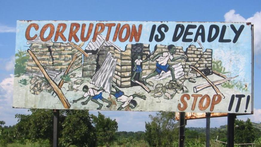 An anti-corruption poster in Nigeria. (Internet photo)