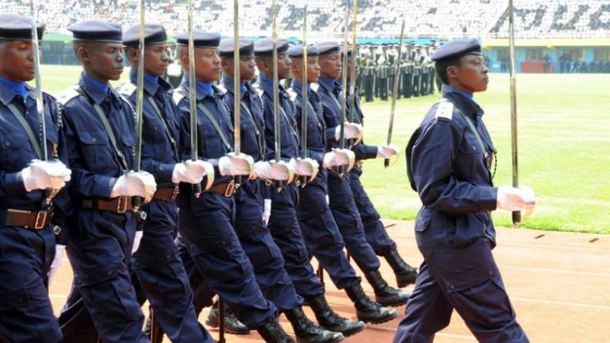 Police officers on parade during the Rwanda National Police 10th anniversary celebrations in 2012. File.