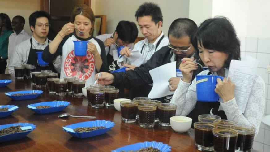 Judges taste the quality of coffee during a past coffee competition in Kigali. (File)