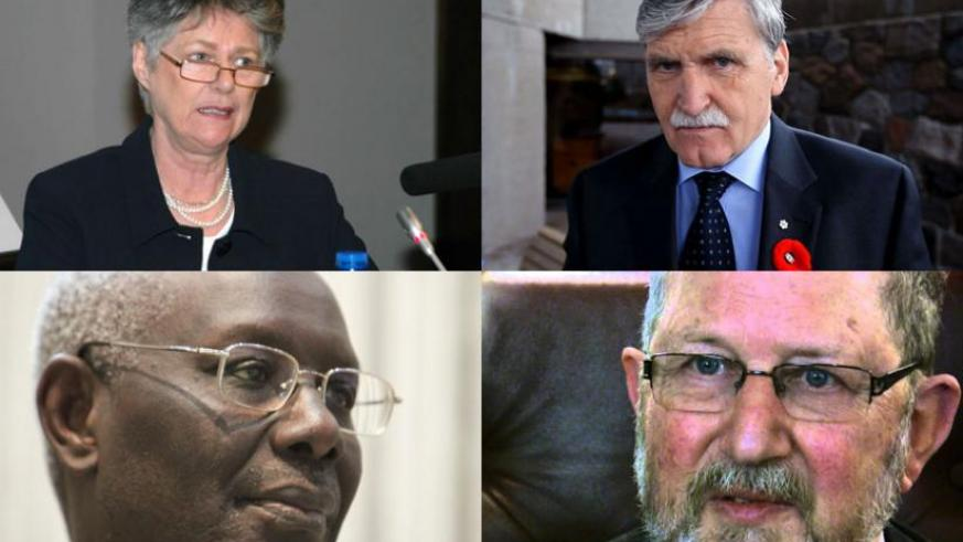 CLOCKWISE: Renowned British researcher and author Prof. Linda Melvern; Canadian Senator Gen. (Rdt) Romeo Dallaire, the commander of the UN force in Rwanda during the Genocide; former Czech Representative on the UN Security Council, Amb. Karel Kovanda; and Boubacar Boris Diop of Sénégal, author of 'Murambi, the Book of Bones, are among those who signed the letter. (Internet photos)