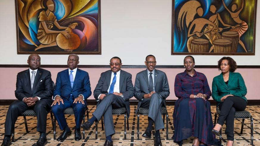 President Kagame and First Lady Mrs Jeannette Kagame, with Ethiopian Prime Minister Hailemariam Desalegn (3rd left); Ghana Vice President Kwesi Amissah-Arthur (2nd left); outgoing AfDB president, Dr Donald Kaberuka (left); and Azeb Mesfin Haile, former Ethiopian First Lady and founder of the Meles Zenawi Foundation after the opening of the Foundation's  inaugural symposium in Kigali yesterday. (Village Urugwiro)