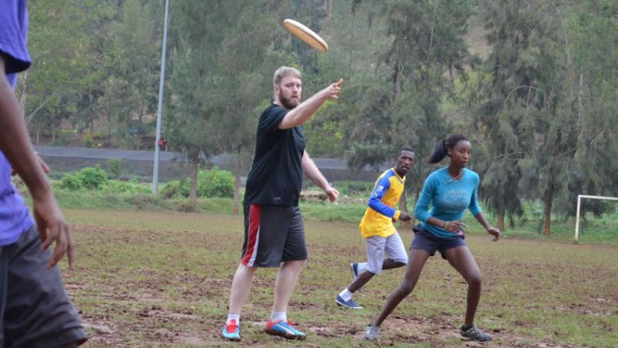 Michael Tignor seen here training Flying Gorillas players at their Cercle Sportif de Kigali base. (Courtesy)
