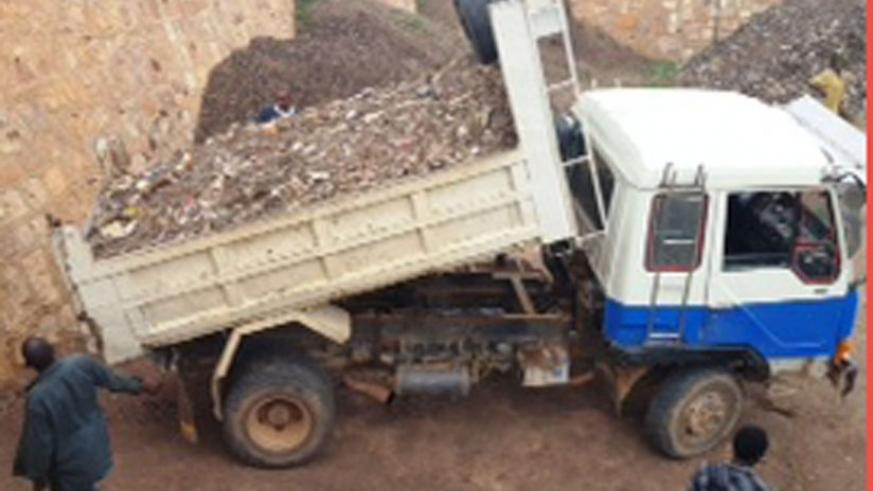 A vehicle prepares to offload waste at the waste treatment plant. (Courtesy)