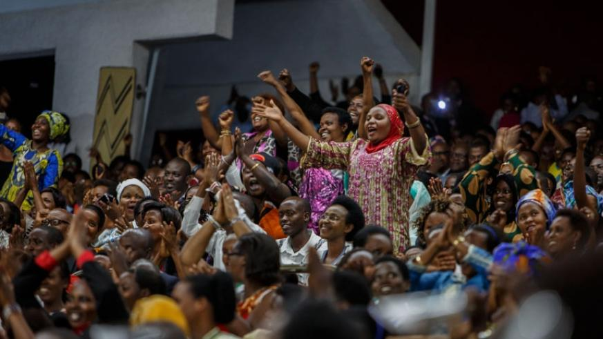 Members of the public react during the debate on term limits in Parliament. (File)