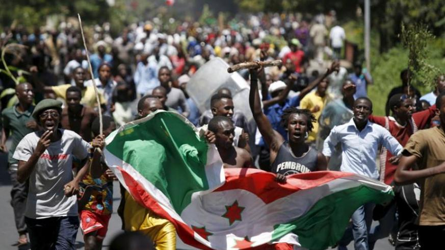Protesters in Bujumbura. Violence is increasing in Burundi following a controversial election held in July. (Net photo)