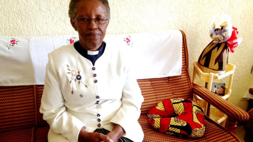 Reverend Mukandoli during the interview  at her home in Kanombe. (D. Mbabazi)