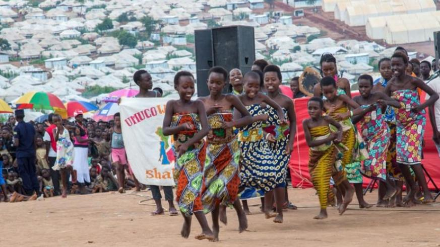Young Burundian refugees at Mahama camp showcase their cultural dances as they celebrated the festive season on Thursday. (Doreen Umutesi)