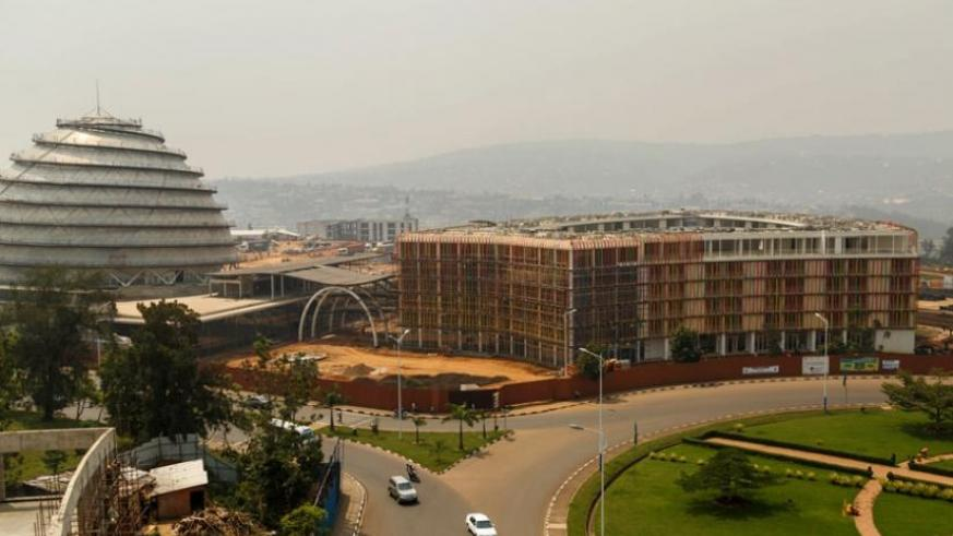 The Kigali Convention Centre, still under construction, will open to operations by June, just in time to host the 27th African Union Summit as its maiden major event. (Timothy Kisambira)