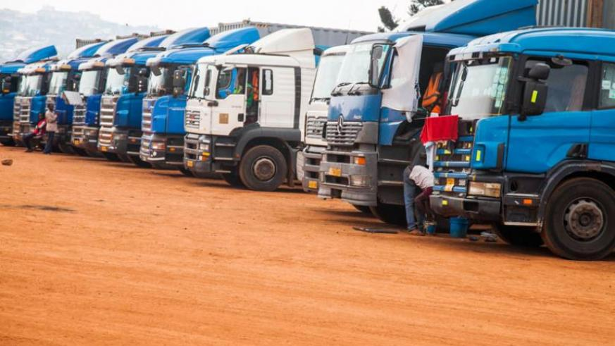 Cargo trucks parked at MAGERWA awaiting clearance. (File)