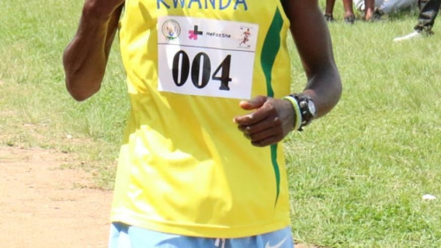 Kajuga crosses the finish line to win the Nyanza peace race last weekend. He has been banned for four years over refusal to take a drug test. (G. Asiimwe)