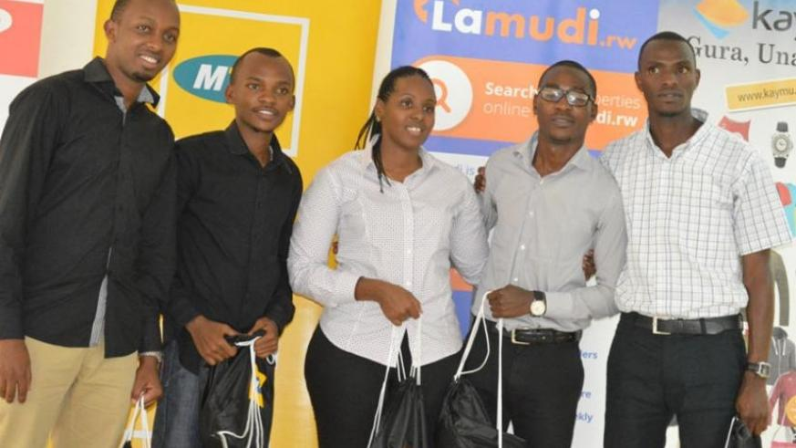 Members of the top two teams that will represent Rwanda at the MTN Entrepreneurship Challenge contest in S.Africa.  (Julius Bizimungu)
