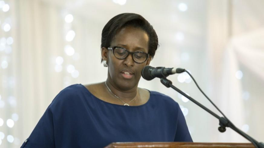 First Lady Jeannette Kagame delivering her keynote address. (Courtesy)