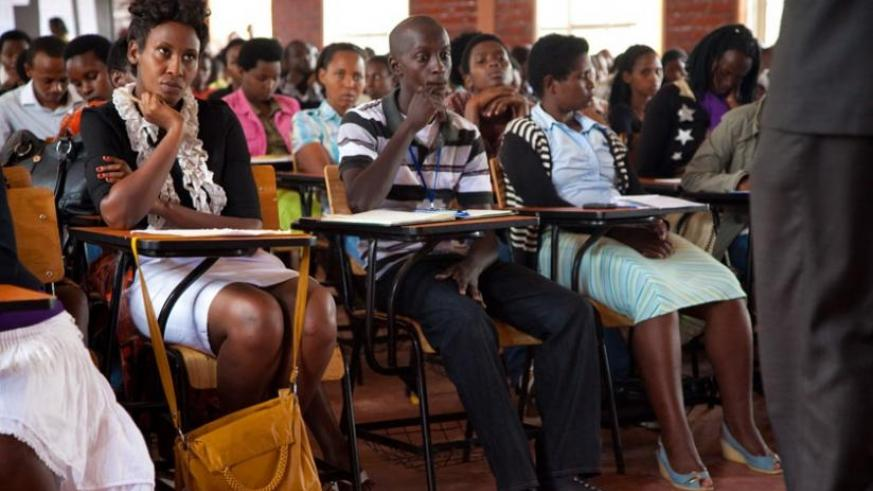 Kigali Institution of Management (KIM) students during a lecture. (File)